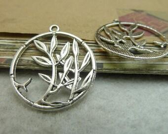20pcs 28*31mm antique silver Branch leaf the circle charms pendant  C7221