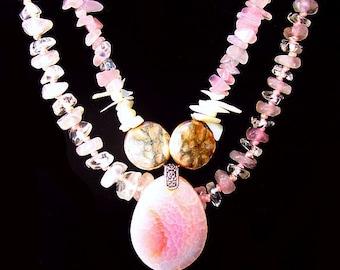 "Pink Quartz & Coral Bead Necklaces Rhodocrosite Pendant Silver Metal 24"" L Vintage"