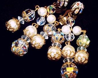"Crystal Dangle Chandelier Earrings Clip On's Gold Filigree Metal 2.5"" Vintage Wedding"