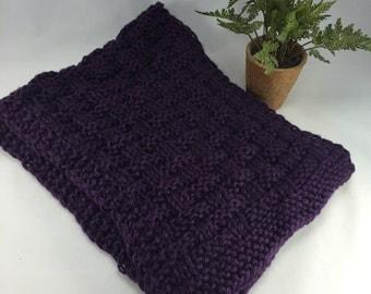 Basketweave Scarf Hand Knit Chunky Dark Plum Purple Washable Scarf