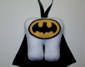 "7"" Batman Inspired Tooth Fairy Pillow with Ribbon"