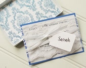 Will You Be My Bridesmaid Cards- Personalized Wedding Card Box. Wedding Party. Blue Invitation.  Chevron. Damask. Quatrefoil.