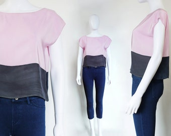 HANAMI Silk top in Pink and Gray.