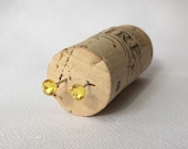 5mm Light Topaz Swarovski Crystal Studs  1 Pair Surgical Steel Posts, Little Girl Earrings