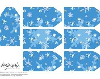 Frozen Snowflake Christmas Medium Gift Tags Collage sheet, scrapbooking, cardmaking, blue INSTANT DIGITAL DOWNLOAD