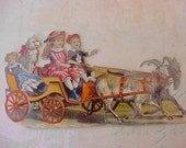 Darling Victorian Scrap-Children Driving Doll and Dog in Goat Cart
