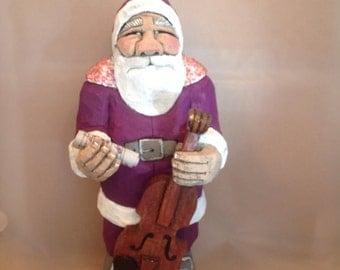 Hand Carved Wood Santa with Violin