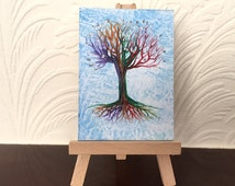 Rainbow Tree of Life ACEO Encaustic Original Art Miniature Collectible Painting