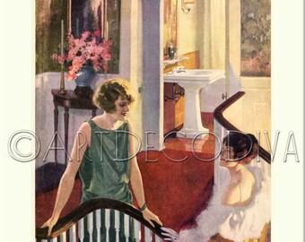 Vintage 1920's DECO Beauty Glamour Flapper Girls BATHROOM Sink Decorating Advertising Poster Fine Art Print