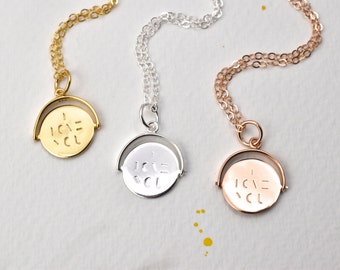 Hidden message pendant necklace- I love you - spinning charm - love you pendant - spinning necklace - silver- gold - rose gold