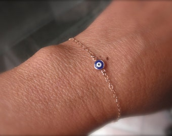 Blue Evil eye bracelet - rose gold eye bracelet - protection bracelet - 14K rose gold-filled chain - rose gold vermeil evil eye