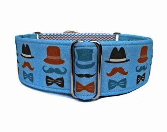 "Invisible Gentlemen Dog Collar - 1"" or 1.5"" Blue, Brown, Black Mustache and Bow Tie Martingale Collar or Adjustable Buckle Dog Collar"