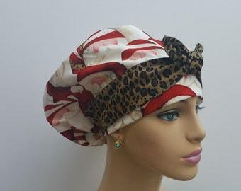 Handmade Woman Medical Scrub Hat-Nurses Hat-European Style - Hohoho!  Santa and Cheetah Spots - 100 % Cotton
