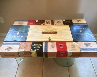 Cigar and Wine box Coffee table with glass base