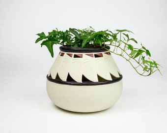 Vintage Ceramic Planter or Vase, with Boho Global Detail