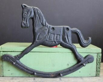 Vintage Black Cast Iron Rocking Horse Key Holder // Towel Holder // Jewelry Holder