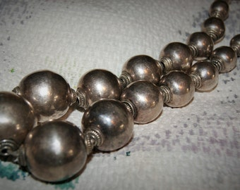 BALL BEAD NECKLACE 136g Sterling Estate 1900's
