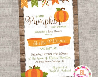 Fall Pumpkin Baby Diaper Shower Invitation - Digital File