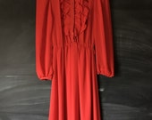 Vintage Red You Babes II Ruffle Dress