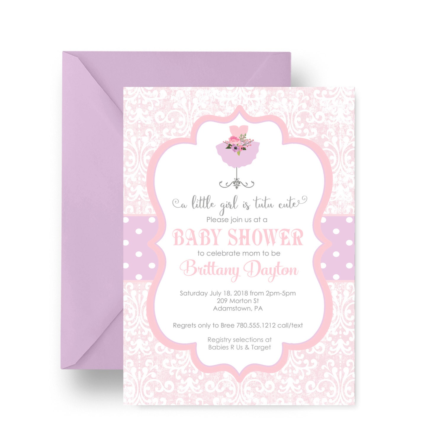 tutu girls baby shower invitation charmed by papercleverparty