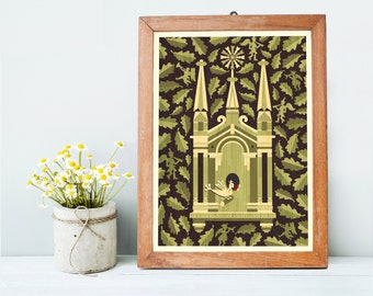 Church Art Print A3, Spiritual Housewarming Gift, Christmas Gift, Christian Religious Art, Green Wall Art, Home Decor, Inspired by Lithuania