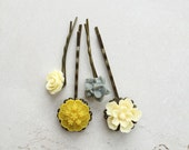 Hairpin set in grey, yellow and cream