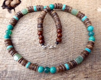 Mens surfer necklace, turquoise, jade, aventurine and coconut shell beads, tribal style, handmade from natural materials, beaded necklace