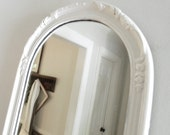 Vintage White Mirror Shabby Chic Arched Ornate Wood Frame