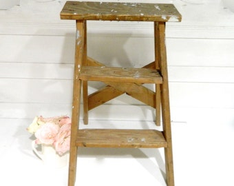 Vintage Wood Ladder Rustic Cottage Farmhouse