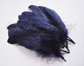 Navy Blue GOOSE pallets feathers, loose feathers for millinery, crafts, wedding, decorations, real feathers, 5-8in (12.5-20cm), 12 pcs/ F194