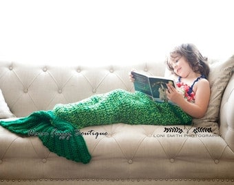 Instant Download PDF Crochet Pattern - No. 79 Quick & Easy Mermaid Tail Blanket Cocoon - 4 Sizes Toddler Thru Adult