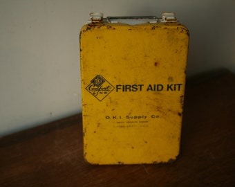 Spring Cleaning - Vintage First Aid Kit, Metal Kit, Industrial Decor, Yellow First Aid, Rusty, Industrial
