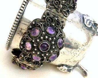 Chinese Amethyst Silver Filigree Bracelet, Antique Amethyst Bracelet, ,Ornate Silver Filigree, Chinese Export