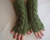Reserved for T.Fingerless  Gloves  Alpaca Red haze.Black.  Wrist  Warmers Cable Winter  Mitts  Women's Green  Fingerless  Gloves  Warm Gifts