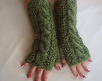 Fingerless  Gloves mittens  Alpaca Knit  Cable Wrist  Warmers Cable Winter  Mitts  Women's Green  Fingerless  Gloves  Warm Gifts