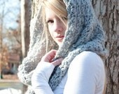 SUMMER SALE the CHARLOTTE cowl - Chunky Cowl Scarf Shawl Hood - Silver Grey - limited