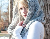 PRE-FALL SALE the Charlotte cowl - Chunky Cowl Scarf Shawl Hood - Silver Grey - limited