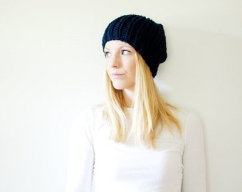 SUMMER SALE the LATTA hat - basic chunky knit hat womens fitted hat beanie - navy