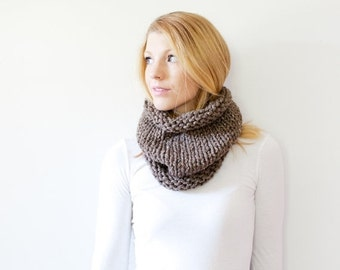 WINTER SALE the SOLOMON cowl - knit cowl scarf chunky scarf cowl scarf  - barley