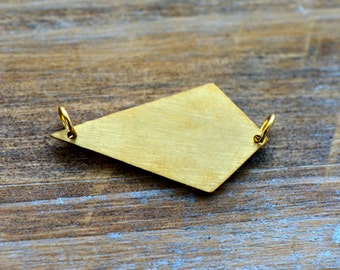 1 - Kite Geometric Charm Link Brushed 24k Gold Plated Stainless Steel Geometric Layered Charm Minimal Jewelry Pendant (AQ027)