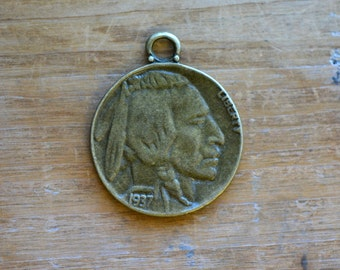 Buffalo Nickel Charm -  Vintage Style Pendant - Antique Bronze - Indian Coin Charms Jewelry Supplies (N023))