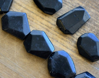 3 - LARGE Geometric Gemstone Beads - Black - Gemstone Jewelry Supplies (DA259)