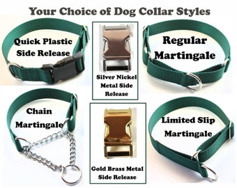 """Green Edge Black Watch Tartan Dog Collar - 1"""" (25mm) Wide - Green and Navy Plaid - Choice of size & style - Martingale or Quick Release"""
