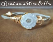 White Agate Slice Guitar String Bangle- Guitar String Jewelry-Nashville.Memphis. Knoxville. Chattanooga. Tennessee. Bird on a Wire Jewelry-