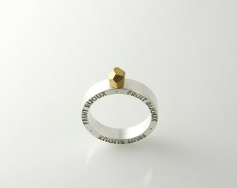 Goldrush ring, silver plated ring, gold plated top, 5 mm