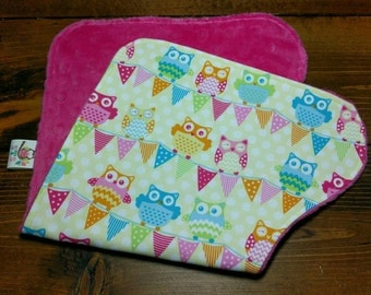 Reversible Burp Cloth Owl Bunting on Yellow Dots with Fuchsia Dimple Minky Newborn Infant Baby Girl Drool Pad Accessories ITEM #293