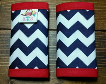 Reversible NEWBORN Car Seat Strap Covers Suck Pads Multi Navy Chevron with Red Dimple Dot Minky Cuddle Baby Boy Girl Accessories ITEM #324