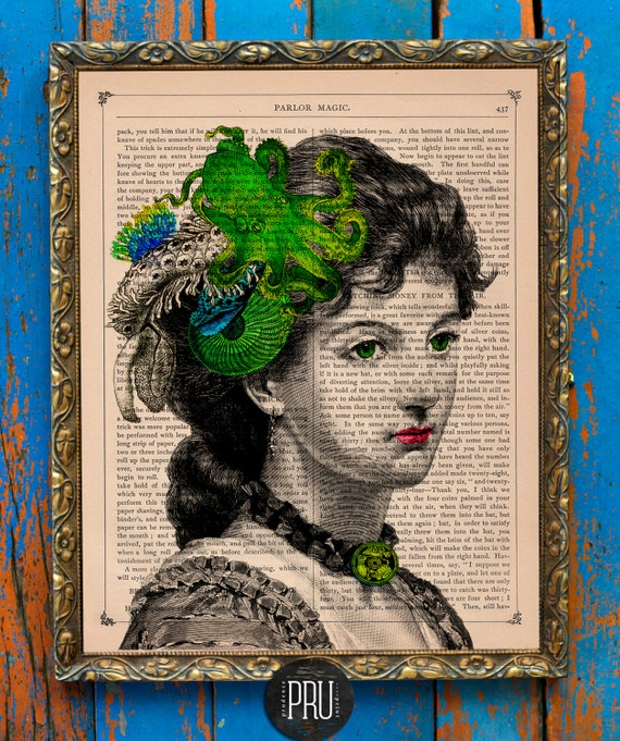 Priestess Uxia Bride of Dagon Original Collage Print on an Unframed Upcycled Bookpage
