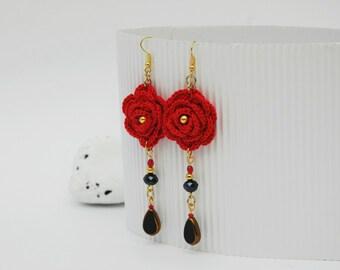 Crochet earring jewelry - Large crochet earring - Red and black earrings - Textile Jewelry - Crochet flower