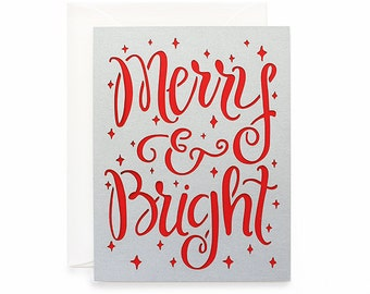 """Christmas Card - """"Merry & Bright"""" Laser Cut Hand Lettered Card"""